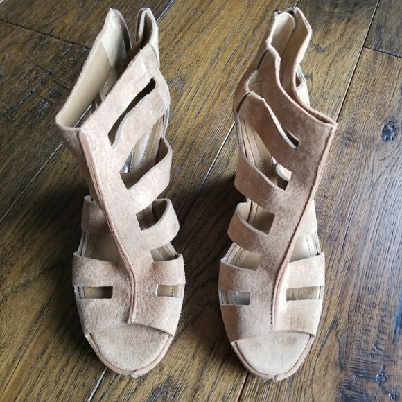 2b4bc2bc9d0a NWT BCBGeneration TORREZ Wedge nude tan sandals.